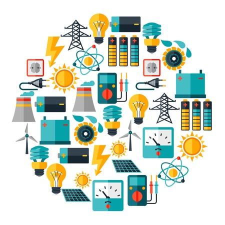 electricidad: Fondo de la industria con los iconos de energ�a en el estilo de dise�o plano
