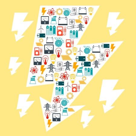industry background: Fondo de la industria con los iconos de energ�a en el estilo de dise�o plano