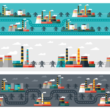 Seamless patterns of industrial power plants in flat style  Vector