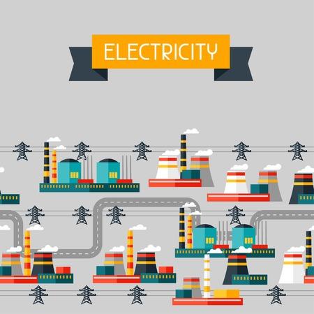 industry background: Fondo de la industria con las centrales el�ctricas industriales en estilo plano
