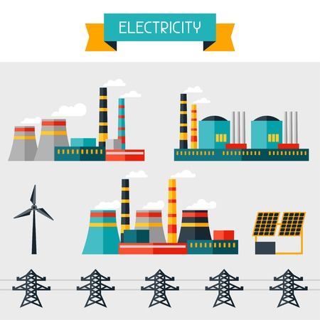Electricity set of industry power plants in flat design style  Vector