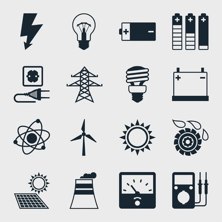 ammeter: Set of industry power icons in flat design style  Illustration