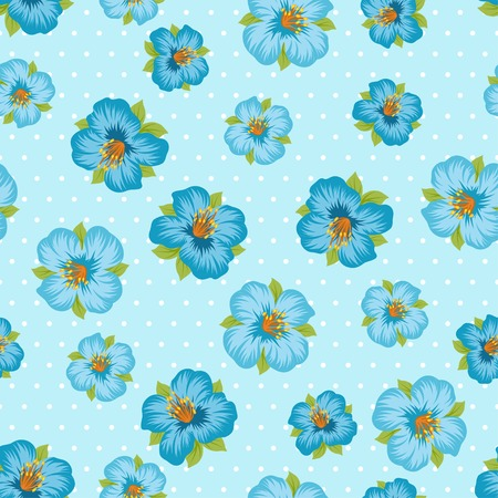 Seamless floral pattern with pretty stylized flowers