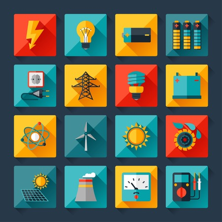 solar battery: Set of industry power icons in flat design style  Illustration