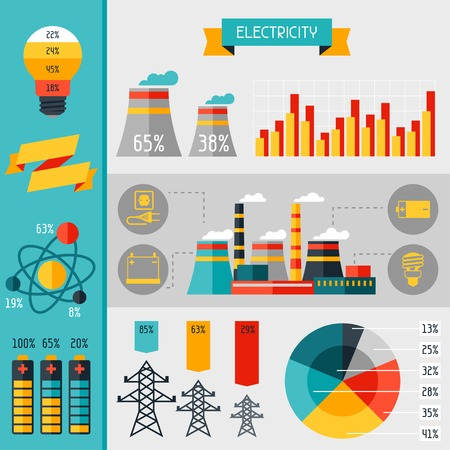 power line tower: Electricity set of industry power infographic in flat style.