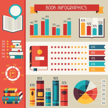 Set of books infographic in flat design style. Illustration
