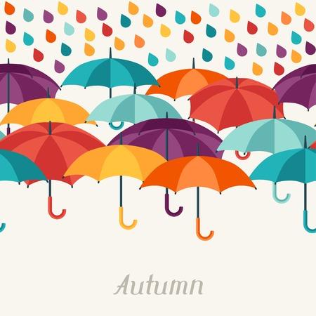 background herfst: Herfst achtergrond met paraplu's in platte design stijl. Stock Illustratie