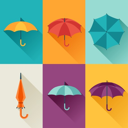 rainy season: Set of cute multicolor umbrellas in flat design style.