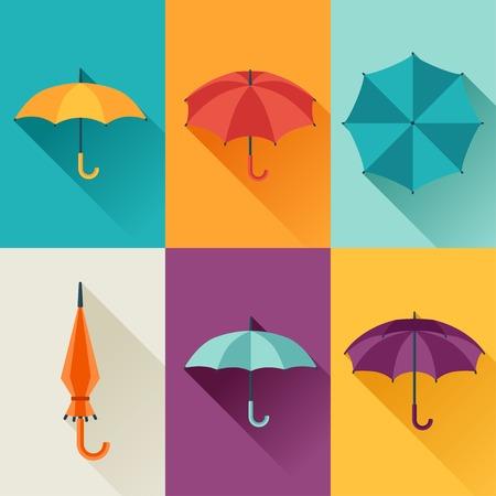 the rainy season: Set of cute multicolor umbrellas in flat design style.