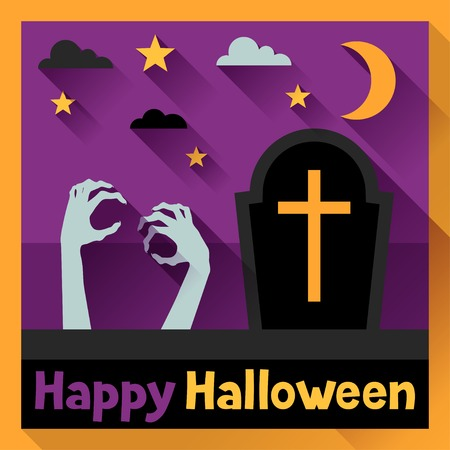 Happy halloween greeting card in flat design style. Vector