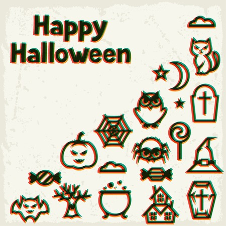 jack pot: Feliz tarjeta de felicitaci�n de Halloween con efecto de superposici�n.