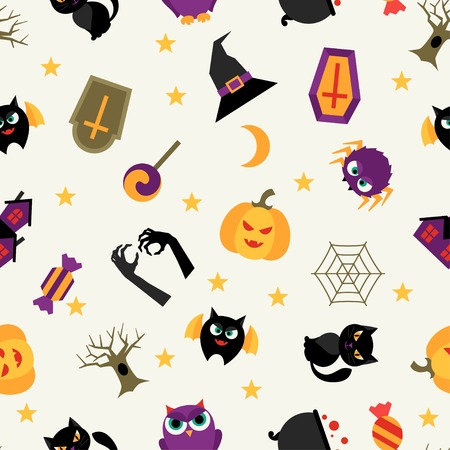 jack pot: Happy halloween seamless pattern with flat icons.