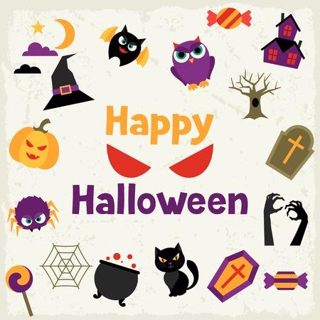 jack pot: Feliz tarjeta de felicitaci�n de Halloween con los iconos planos. Vectores