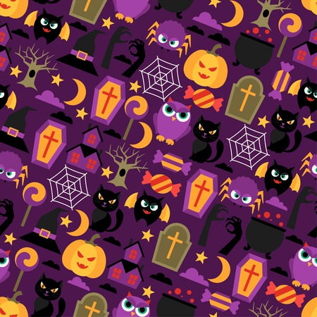 Happy halloween seamless pattern with flat icons. Vector