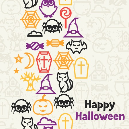 Happy halloween greeting card with flat icons. Vector