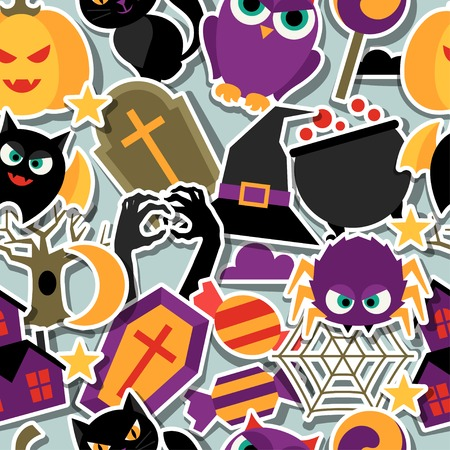 Happy halloween seamless pattern with flat sticker icons. Illustration