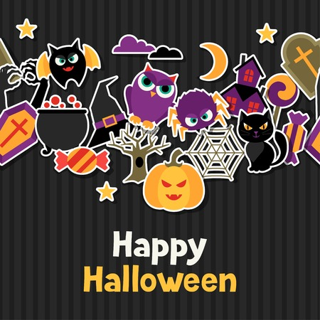 Happy halloween greeting card with flat sticker icons. Vector