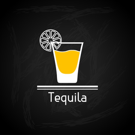 shots alcohol: Illustration with glass of tequila for menu cover.