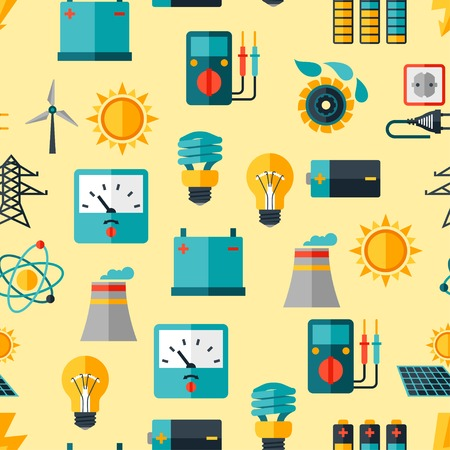 solar battery: Seamless pattern with power icons in flat design style.