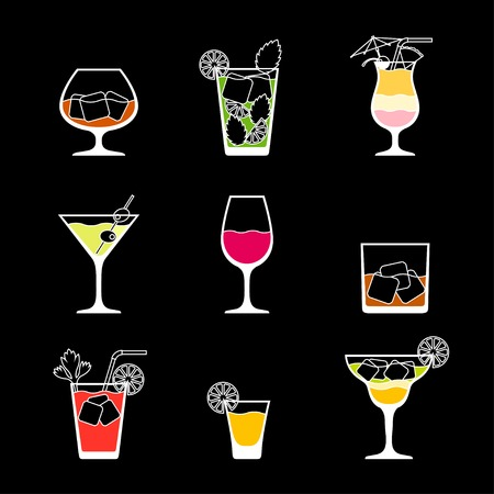 food and drink holiday: Alcohol drinks and cocktails icon set in flat design style.