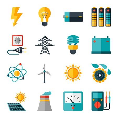 Zestaw ikon elektroenergetycznych w płaskiej stylu projektowania.