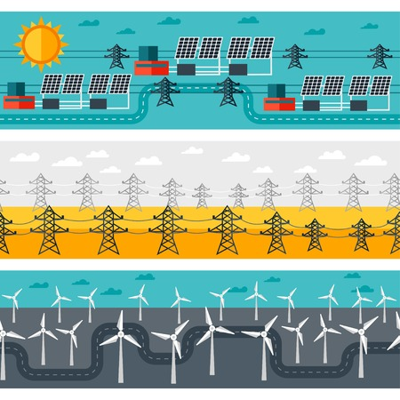 pylon: Seamless patterns of industrial power plants in flat style.