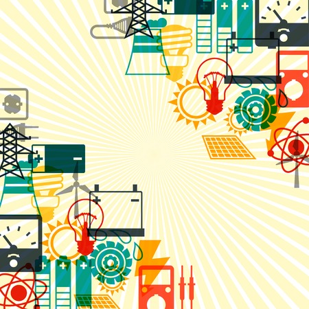 Industry background with power icons in flat design style. Vector