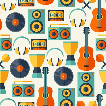 Seamless pattern with musical instruments in flat design style. Vector