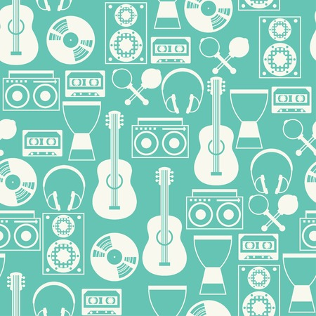 Seamless pattern with musical instruments in flat design style. Stock Illustratie