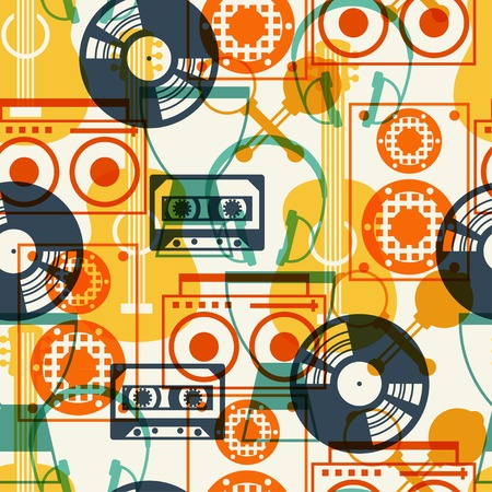 Naadloze patroon met muziekinstrumenten in flat design stijl.