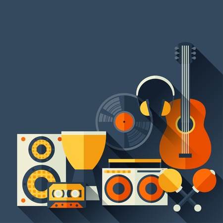 Background with musical instruments in flat design style. Vector