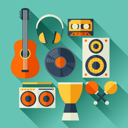 maracas: Set of musical instruments in flat design style.