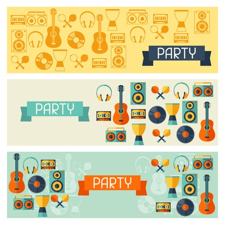 Horizontal banners with musical instruments in flat style. Vector
