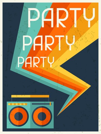 audio cassette: Party retro poster in flat design style.