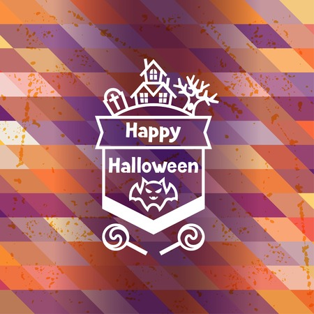 Happy halloween greeting card with badges ang icons. Vector