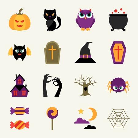 Happy halloween icon set in flat design style. Vector