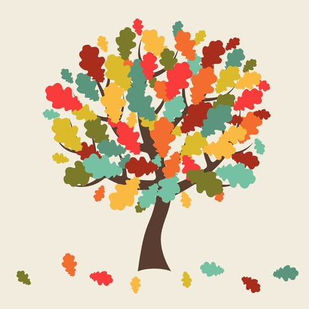 Stylized autumn tree with falling leaves for greeting card. Vector