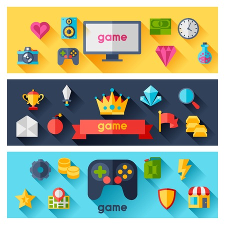 Horizontal banners with game icons in flat design style. Vector