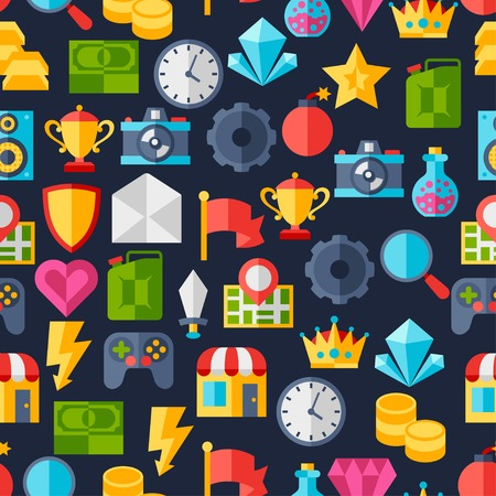 game console: Seamless pattern with game icons in flat design style. Illustration