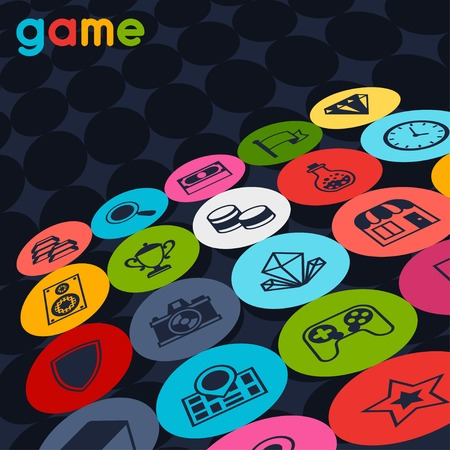 poster print: Background with game icons in flat design style.