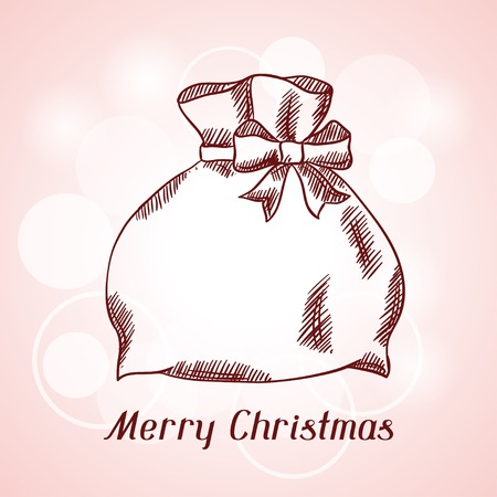 sackful: Merry Christmas hand drawn invitation card template.