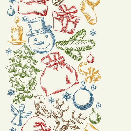 Merry Christmas hand drawn seamless pattern design. Vector
