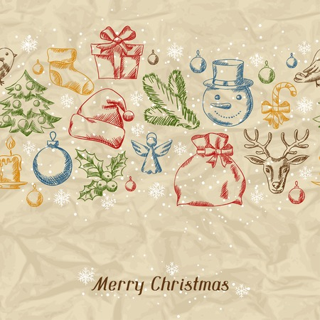 Merry Christmas hand drawn invitation card template. Vector