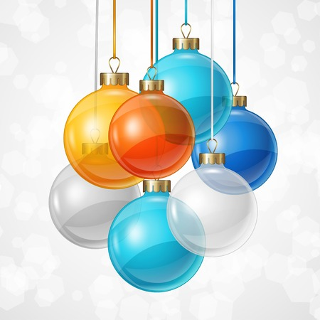 Holiday background card template with christmas balls. Vector