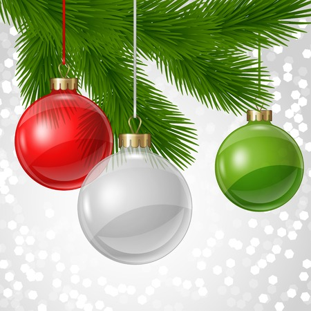 glass christmas tree ornament: Holiday background card template with christmas balls. Illustration