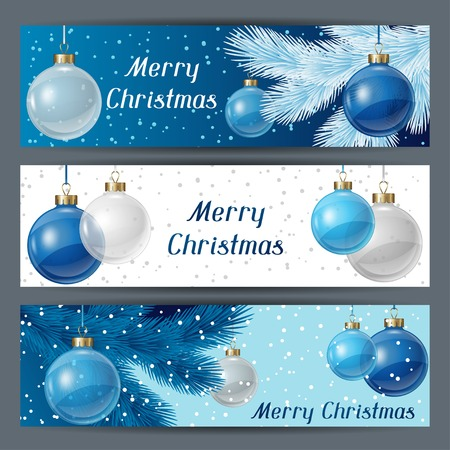 Holiday horizontal banners template with christmas balls. Vector