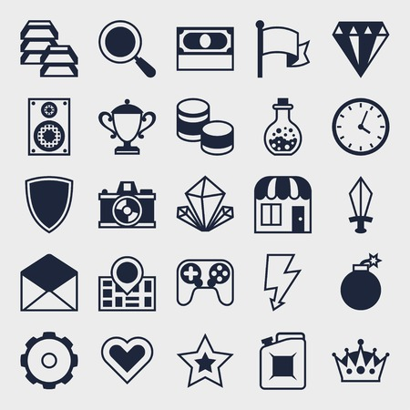 Set of game icons in flat design style. Vector