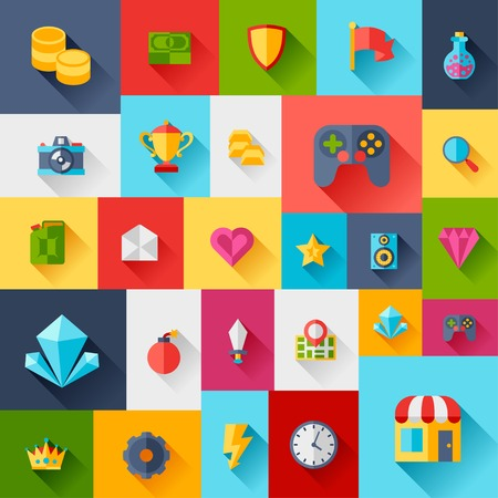 Background with game icons in flat design style. Vector