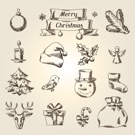 Set of Merry Christmas hand drawn icons and objects. Vector