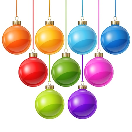 group of christmas baubles: Christmas balls isolated on white for design. Illustration